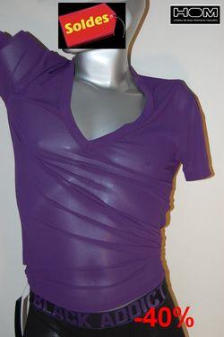 Boxer-Hom-black -addict-coton-bord-violet-t-shirt-col V