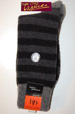 Chaussettes DD en laine polaire rayures grises