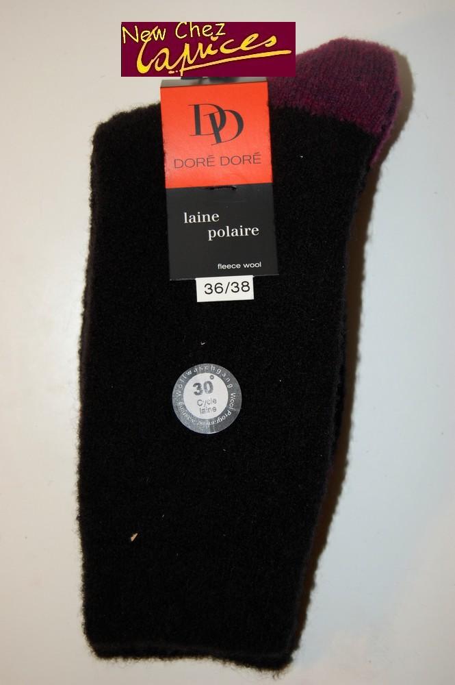 Chaussettes Dore-Dore femme en laine polaire-noire