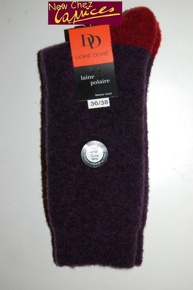 Chaussettes Dore-Dore femme en laine polaire-prune