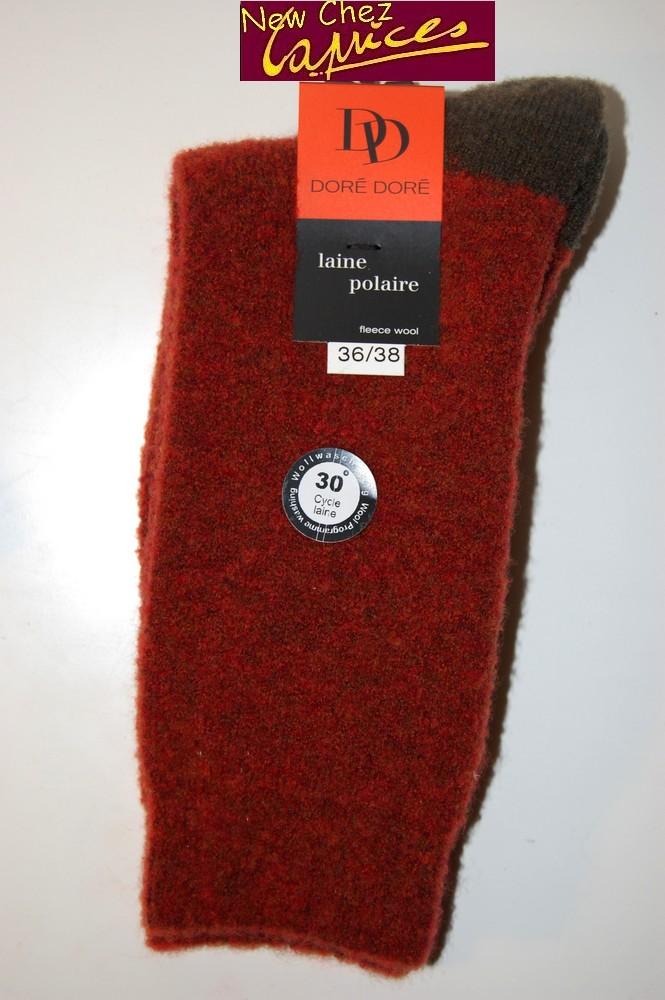 Chaussettes Dore-Dore femme en laine polaire-brique