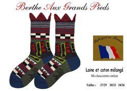 Chaussettes berthe aux grands pieds enfants Patchwork-Couronne