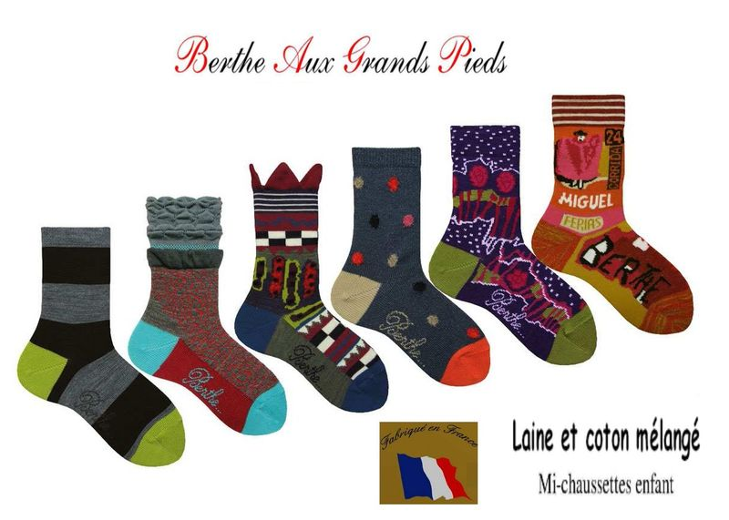 Chaussettes berthe aux grands pieds enfants assorties