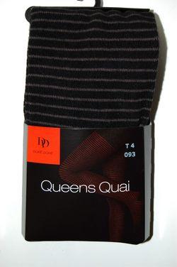 Collant DD en laine douce rayures fantaisie noir