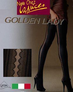 Collant opaque ligne verticale noire, Golden Lady ouverture baguette arrière
