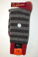 Chaussettes DD en laine polaire rayures grises-souris