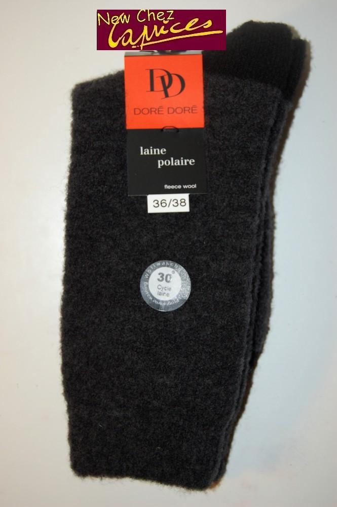 Chaussettes Dore-Dore femme en laine polaire-anthracite