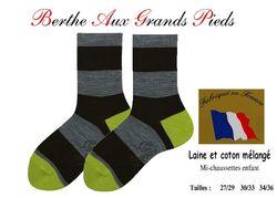 Chaussettes berthe aux grands pieds enfants rayures pistache