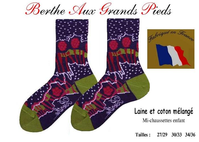 Chaussettes berthe aux grands pieds enfants Patchwork-roses plumetis