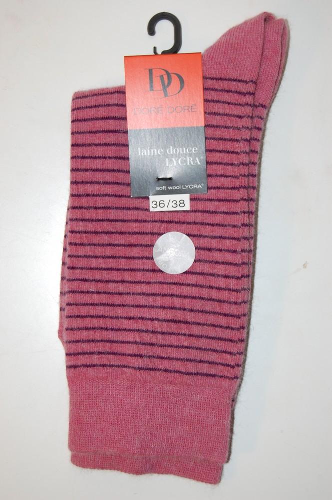 Chaussettes Doré-Doré laine douce rayures parme