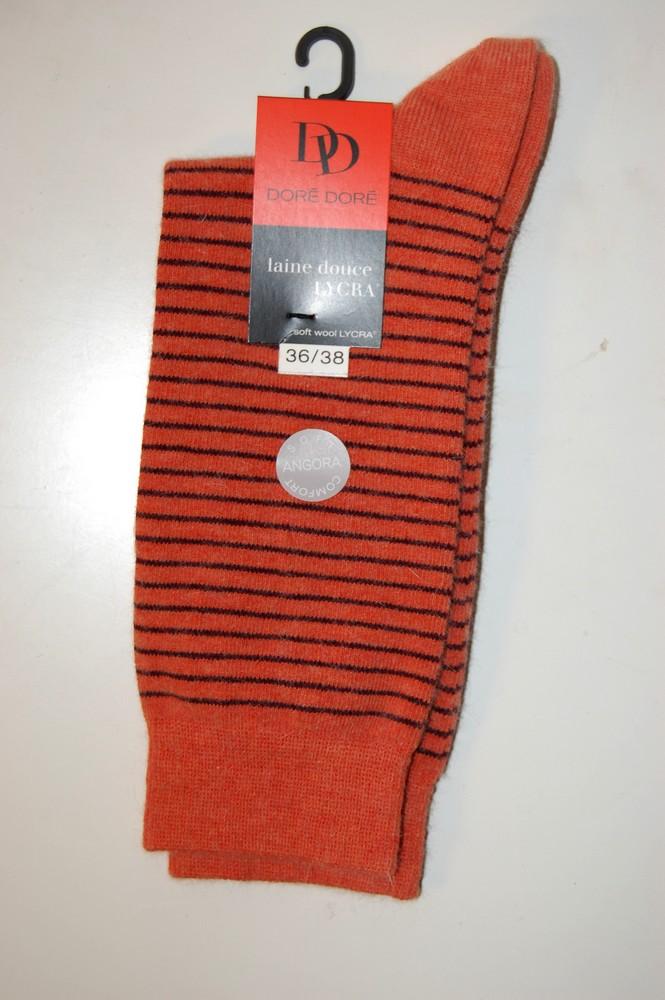 Chaussettes Doré-Doré laine douce rayures orange