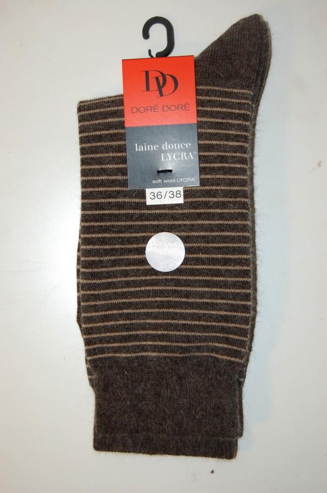 Chaussettes Doré-Doré laine douce rayures taupe