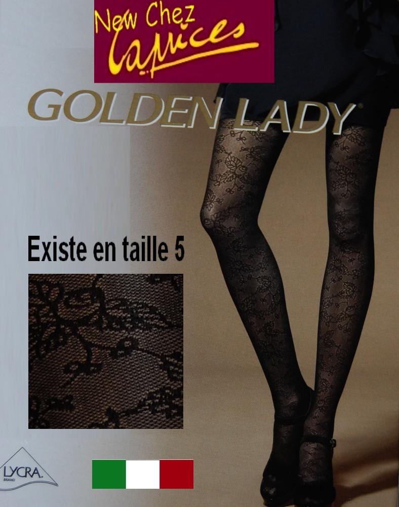 Collant opaque dentelle fleuries ajourees noires, Golden Lady