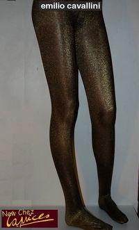 Collant Emilio Cavallini opaque noire lurex doré