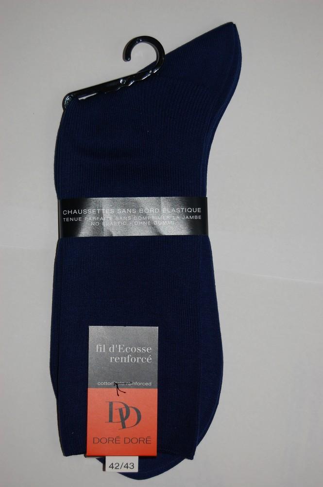 Chaussettes Sans elastique fil d'ecosse Homme bleu Marine