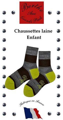 Chaussettes enfants Berthe aux grands pieds rayures marron gris pistache