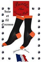Chaussette fil d'ecosse et soie Berte aux grands pieds noire et orange