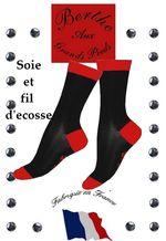 Chaussette fil d'ecosse et soie Berte aux grands pieds noire et rouge