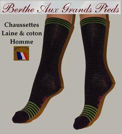 Chaussettes Homme berte aux grands pieds laine et coton rayures violettes