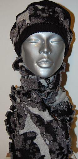 Noir Lurex ensemble Beret et echarpes de Laine