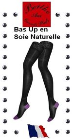 Bas Up Berthe aux grands pieds soie naturelle talon Violet