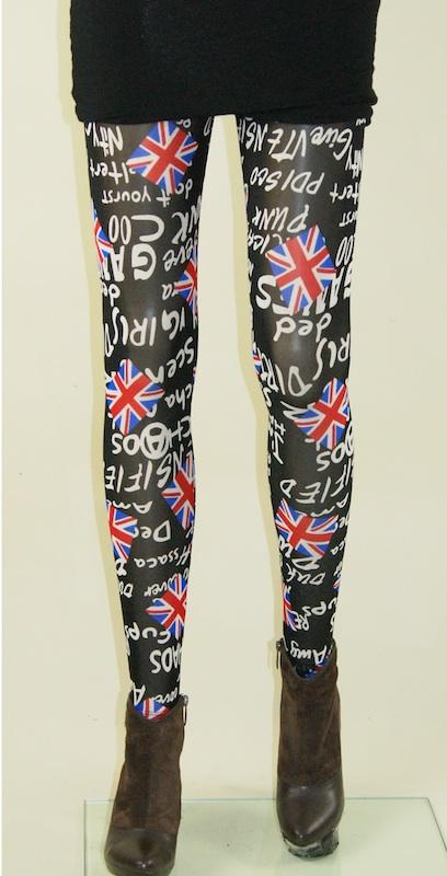 Legging tulle lycra  british flag punk