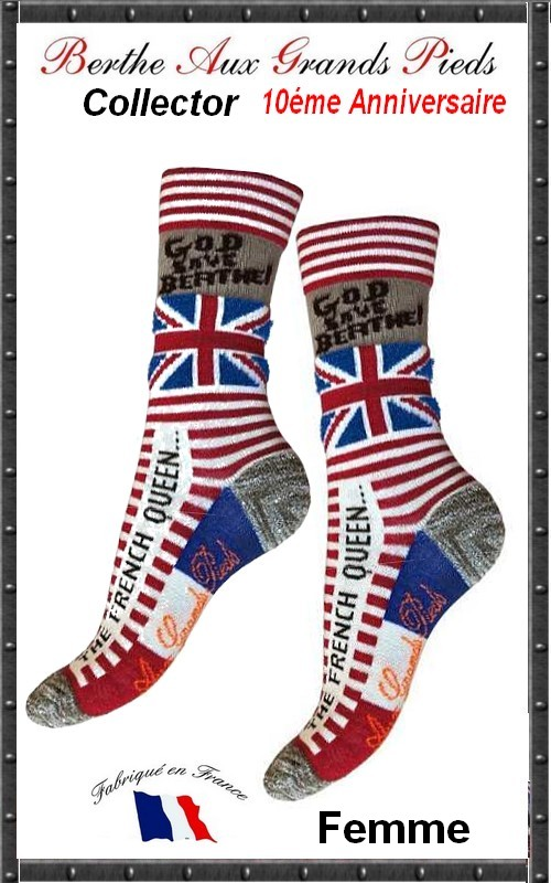 Chaussettes Berthe aux grands pieds God save Berthe the french queen