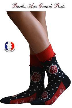 Chaussettes Berthe aux grands pieds femme Pois et roses