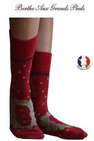 Chaussettes Berthe aux grands pieds femme pois médaillés